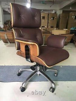 Eams Office Chair Brown Real Leather Walnut Swivel Up And Down Tilt In Stock