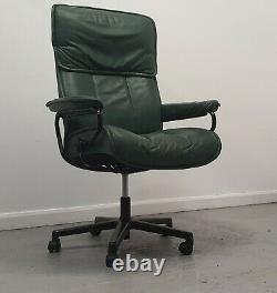 Ekornes Stressless Green Swivel recliner leather office desk chair 11201