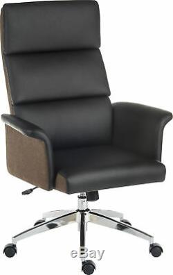 Elegance High Back Black Leather Executive Home Office Swivel Computer Chair