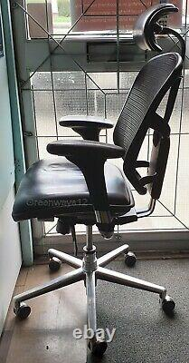 Enjoy Leather Seat Base Mesh Back Office Chair with Adjustable Leather Headrest