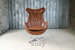 Enterprise Aviator Leather Swivel Egg Chair Tan Brown Leather Home Office