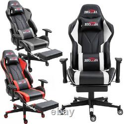 Ergonomic Gaming Computer Chair Swivel Office Recliner Leather Chairs + Footrest