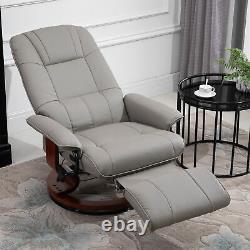 Ergonomic Office Recliner Sofa Chair PU Leather Plush Armchair Lounger Grey