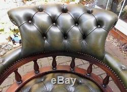 Excellent Leather Chesterfield Captains Chairnew Base & Swiveltiltheight Adj