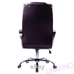 Executive Brown Office Chair PU Leather Swivel High Back Ergonomic Computer Desk