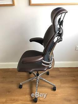 Executive Chrome/ Chocolate Leather Humanscale Freedom Ergonomic Office Chair