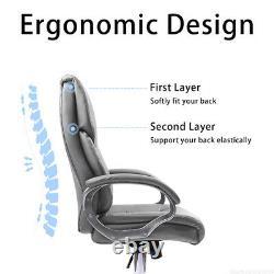 Executive Grey Office Chair PU Leather Swivel High Back Ergonomic Computer Desk