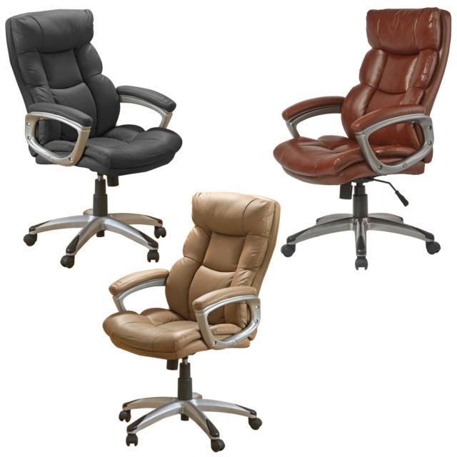 Executive High Back Quality Leather Swivel Computer Desk Office Chair Furniture