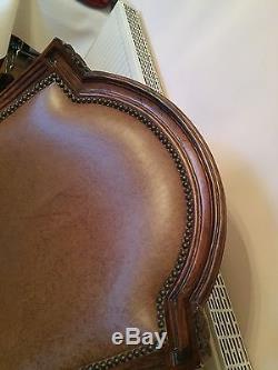 Executive Leather & Hardwood Swivel Desk Chair (Maitland Smith)
