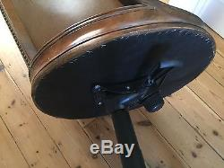 Executive Leather & Hardwood Swivel Desk Chair Maitland Smith REDUCED from £525