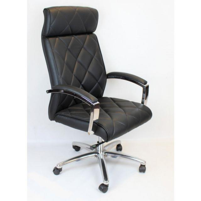 Executive Office Chair Chrome Swivel Base Quilted Black Leather Height Adjust