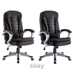 Executive Office Chair PU Leather Swivel Computer High Back Chair Black / Brown