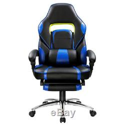 Executive Office Chair Seat Gaming Faux Leather Racing Computer Ergonomic Blue