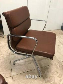 Executive Office Conferance Chair Brown Leather And Chrome
