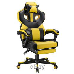 Executive PU Leather Racing Gaming Chair Swivel Office Desk Recliner withFootrest