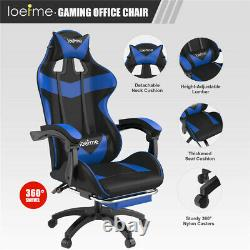 Executive PU Leather Sport Racing Car Gaming Office Chair With Footrest Blue