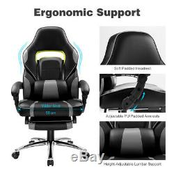 Executive Racing Gaming Computer Office Chair Adjustable Swivel Recliner Grey A