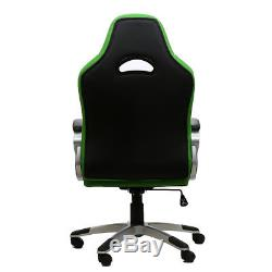 Executive Racing Gaming Office Chair Swivel Sport PU Leather Computer Desk Green