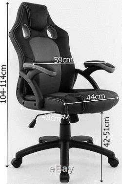 Executive Racing Style Swivel Chair Luxury Office High Back Support PU Leather