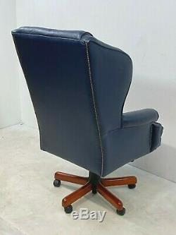 Executive leather chesterfield button back office swivel armchair desk chair