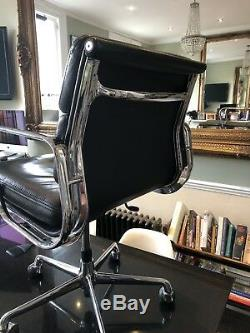 FREE UK DELIVERY ICF Eames Chairs EA 217 Black Leather Soft Pad Polished