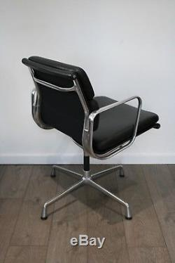 FREE UK DELIVERY Vitra Eames Chairs EA 208 Black Leather Soft Pad Polished