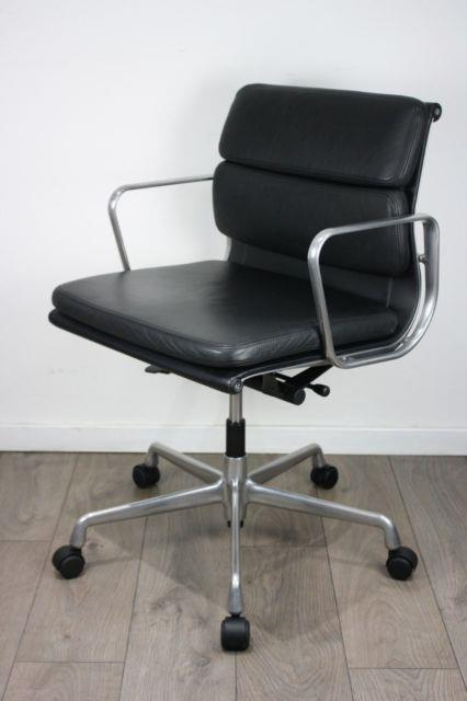 Free Uk Delivery Vitra Eames Chairs Ea 217 Black Leather Soft Pad Polished