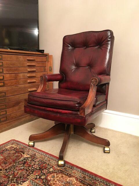 Fabulous Bevan & Funnell Oxblood Leather Luxury Office Desk Chair Rrp £3600