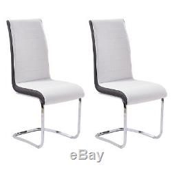 Faux Leather Dining Chairs Chrome Leg Side Kitchen Office Table Grey/Black/White