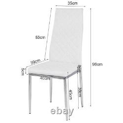 Faux Leather Padded Dining Chair 2/4pcs White Chair with Chrome Legs Home Office