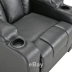 Faux Leather Sofa Recliner Armchair Reclining Chair with 2 Drink Holders Office