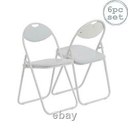 Folding Chairs Padded Faux Leather Studying Dining Office Chair White Frame x6
