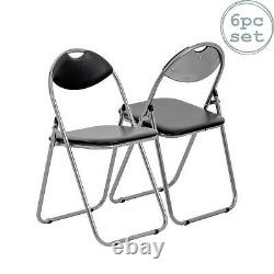 Folding Chairs Padded Faux Leather Studying Dining Office Event Chair Black x6