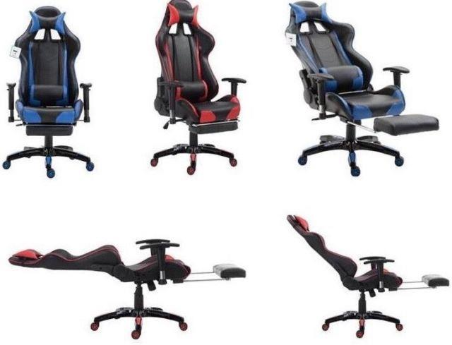 Footrest Gaming Chair Office Chair Recliner Racing Adjustable Swivel Pu Leather