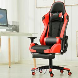 Footrest Office Gaming Chair Executive Recliner Racing Adjustable Fx Leather Red