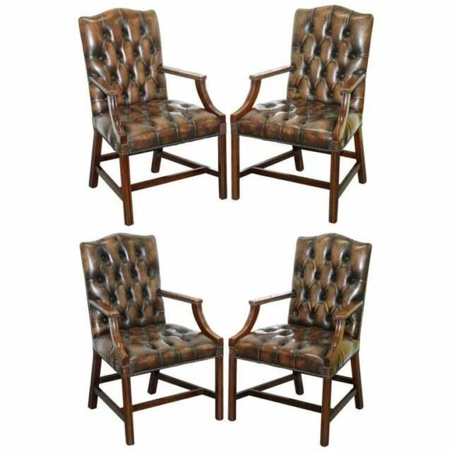 Four Chesterfield Brown Leather Gainsborough Captains Office Dining Armchairs