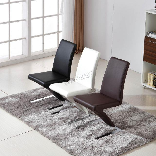 Foxhunter 2/4 Pcs Z Shape Dining Chair Seat Office Pu Faux Leather Pairs Pu04