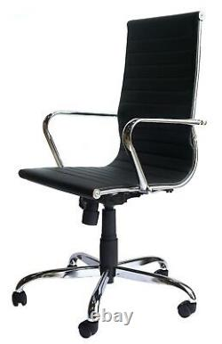 Freja Eames Style Black Bonded Leather Classic Executive Office Chair Graded 95%