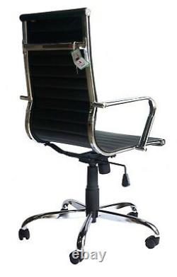 Freja Eames Style Black Bonded Leather Executive Office Chair BUILT Graded 95%
