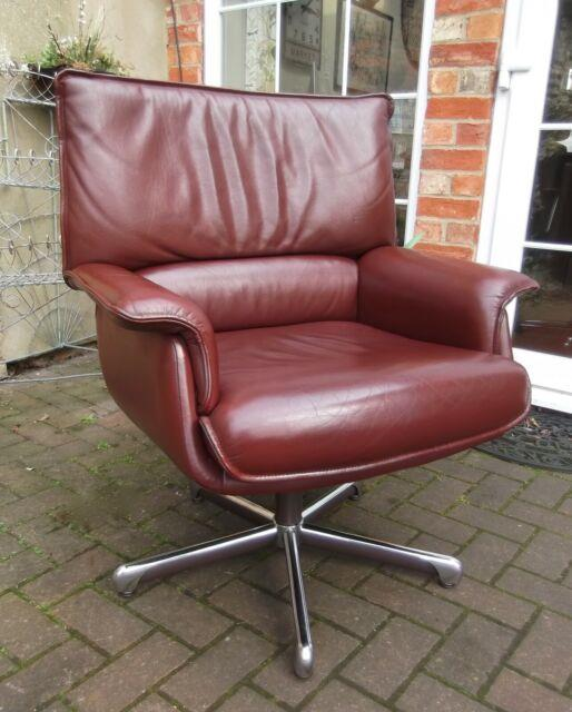 French Chestnut Leather Swivel Desklibraryreception Chairstrafor4 Available