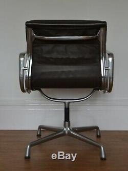 GENUINE CHARLES EAMES EA208 SOFT PAD CHAIR FOR VITRA brown leather office