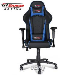 Gt Omega Pro Racing Gaming Office Chair Black Next Blue Leather Esport Seats