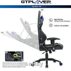 GTPLAYER Pro Gaming Chair Music Ergonomic Gamer Seat PU Leather High Back Blue