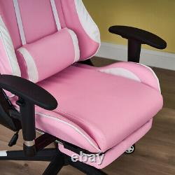 Gaming Chair Office Chair Reclining Lift Swivel High Back PU Leather Pink Chair