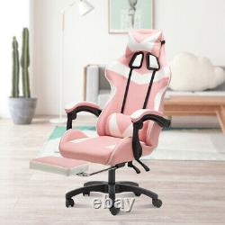 Gaming Chair Office Racing Style Leather Computer Swivel Desk Massage Pink Seat