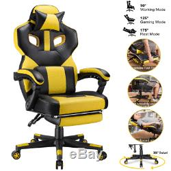Gaming Chair Racing Computer Desk Office Chair Leather Swivel Recliner Footrest
