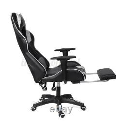 Gaming Office Chair Computer Executive Recliner Footrest Chairs PU Leather Seat