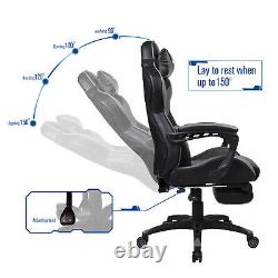 Gaming Office Computer Office Chair Leather Adjustable Arms Footrest with Massage