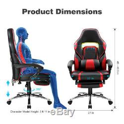 Gaming Racing Chair Office Executive Recliner Adjustable Faux Leather withFootrest