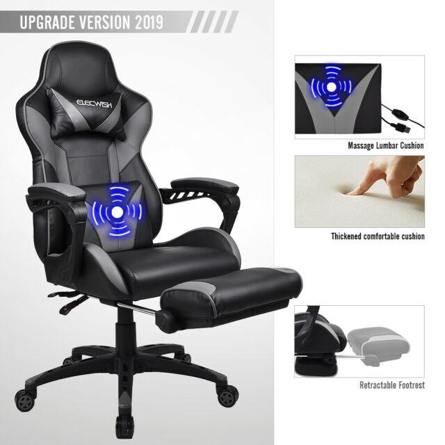 Gaming Racing Massage Office Chair Swivel Computer Recliner Pu Leather Footrest